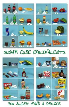 Sugar content of foods demonstrated with sugar cubes