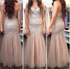 >> Click to Buy << Luxury Sweetheart Mermaid Prom Dresses 2017 New Crystal Beads Backless Champgen Tulle Formal Evening Gowns  #Affiliate