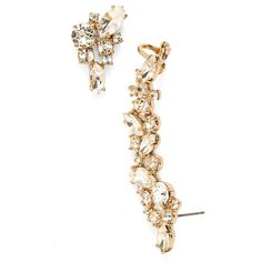 Marchesa 'Drama' Crystal Ear Crawler & Stud Earring ($78) ❤ liked on Polyvore featuring jewelry, earrings, accessories, brincos, gold, earrings jewelry, cuff jewelry, cluster stud earrings, crystal jewellery and gold tone jewelry