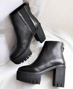 Platform Chunky Heeled Ankle Boots - Footwear