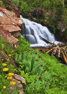 LaPlata Canyon Waterfall tucked into the Columbus Basin of the LaPlata Mountains near Durango, Colorado