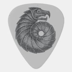 Guitar Pick AMMONITE black on grey Irish Celtic, Dragon Slayer, Greek Art, Ammonite, Guitar Picks, Fossil, Symbols, Future, Grey
