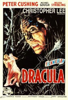 Italian poster for Horror of Dracula by Hammer Film Production directed by Terence Fisher Horror Movie Posters, Old Movie Posters, Classic Movie Posters, Classic Horror Movies, Film Posters, Poster Frames, Retro Horror, Sci Fi Horror, Vintage Horror