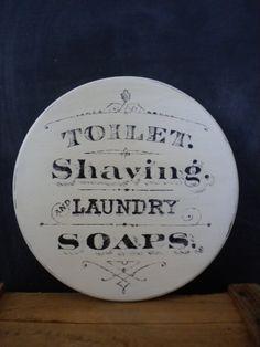 Vintage Soap Sign / Vintage Bathroom Sign by JMFindsandDesigns