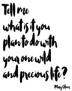 Tell me what is it you plan to do with your one wild and precious life? inspirational quote printable wall art for girlbosses by BlossomBloomDesign