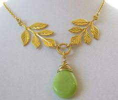 Greek leaves necklace gold plated bridal by TanButterflyJewels, $25.00