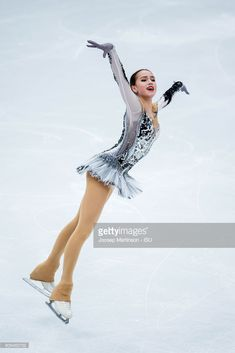 Alina Zagitova of Russia competes in the Ladies Short Program during day two of the European Figure Skating Championships at Megasport Arena on January 18, 2018 in Moscow, Russia.