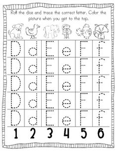 Roll and write for letters and numbers