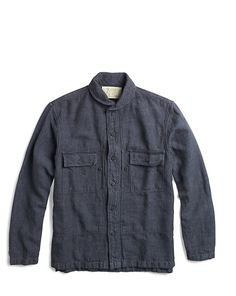 Indigo Linen-Cotton Overshirt