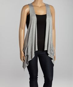 Look at this Gray Racerback Open Vest - Plus on #zulily today!