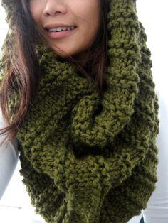 Gwyn Huge Chunky Rib Infinity Cowl Scarf Cilantro Moss by LuluLuvs, $75.00 green moss scarf knit handmade bulky scarf