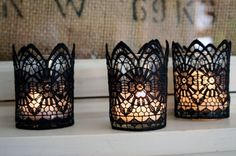 elegant black lace candle holders keep Halloween parties sophisticated while paying homage to traditional Gothic All Hallow's Eve. Halloween Decorations: Bathroom Edition from Bathroom Bliss by Rotator Rod Diy Halloween Decorations, Halloween Crafts, Halloween Party, Holidays Halloween, Halloween Buffet, Lace Candles, Diy Candles, Decorative Candles, Candle Centerpieces