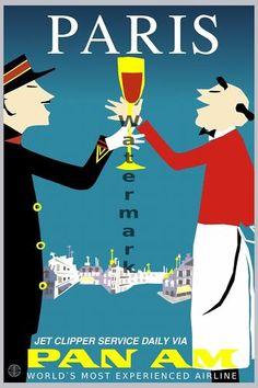 "Vintage Travel Poster: Pan-Am ""Paris"" 24""x36""   eBay"