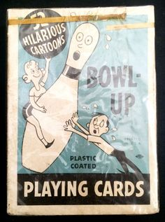 Sealed VTG 1950's BOWL-UP Playing Cards Deck Bowling Cartoons Art by Vic Take