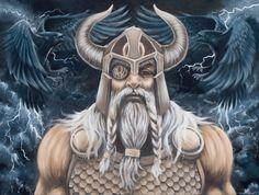 THOR Odin painting Viking art Canvas print