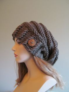Slouchy Beanie Slouch Hats Oversized Baggy Beret Button womens fall winter accessory Taupe Grey Super Chunky Hand Made Knit. $49.99, via Etsy.
