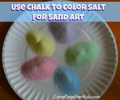 Come Together Kids: Use Chalk to Color Salt for Sand Art ~ It's way cheaper than buying several bags of colored sand, plus it's fun to make!