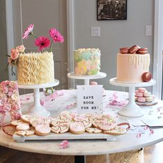 """115479c5e2a ... on Instagram  """"A trio of custom cakes and cookies for a bridal shower  extravaganza. I cannot get over how stunning this dessert table is ✨  Macarons by…"""
