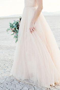 Blush Reem Acra wedding dress   Kristen Joy Photography