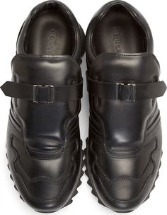 Alexander McQueen Black Leather Accent Strap Sneakers