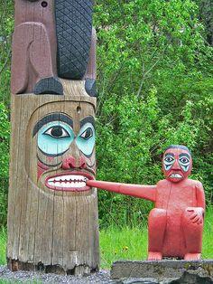 Tlingit totem poles at Saxman Village near Ketchikan Alaska (20) by mharrsch, via Flickr