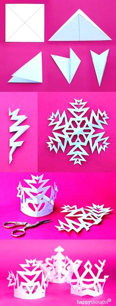 Make a snowflake crown! Easy templates and tutorial at https://happythought.co.uk/product/holiday-craft-activity-printables