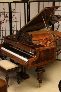 """Absolutely pristine, showroom condition gorgeous Art Case Bosendorfer Grand Piano Model 170 5'8"""" Rare Exotic Amoyna Wood Inlays. Made in 1908, totally rebuilt and refinished. Decorative music desk, Victorian legs, mahogany with  rare exotic amboyna wood inlays throughout. Action just regulated to concert stage performance level. Also has a QRS Pianomation CD Player System. #Piano #Forsale Sonny at Sonny's Pianos Warehouse Long Island, NY 631-475-8046"""