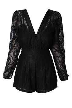 ORION Plunge Playsuit in Black Lace - Black lace playsuit by Motel - perfect for the party season! With plunge front, full length sleeves, fitted waistline, loose fit shorts and zip fastening to back. The cami style layer to the front and the split back add a sexy twist. *All measures are in cm    SIZE & FIT Length(from ...