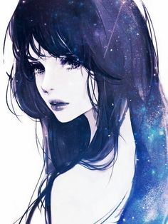 Pretty galaxy anime girl drawing