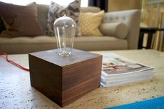 Wood Block Lamp : 14 Steps (with Pictures) - Instructables Table Lamp Wood, Wooden Lamp, Diy Table, Diy Storage Cabinets, Edison Lighting, Edison Bulbs, Edison Lamp, Shabby Chic Lamps, Shops