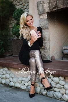 Nothin But Sequins Sparkly Holiday Leggings Pants Gold - Modern Vintage Boutique