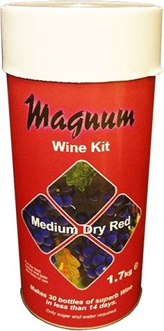 Magnum medium dry red wine kit.  Makes 30 Bottles of wine in less than 14 days. Requires the addition of brewing sugar.