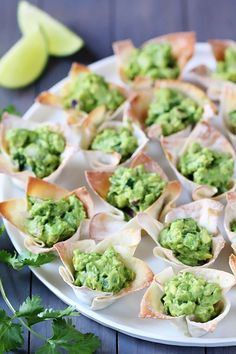 Guacamole Cups. EAsy! Press cups in tins, bake, fill with guac