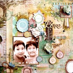 Colorful Days: Kaisercraft DT work<Heirloomシリーズ&Something Blueシリー. Scrapbooking Layouts, Scrapbook Pages, Layout Inspiration, Love Cards, Clear Stamps, Flourish, Projects To Try, Bloom, Frame