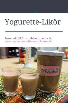Ohne Thermomix und ohne Ei: Himmlisch leichter Yogurette-Likör, und zwar blitzschnell selbstgemacht. Mmmh! Auf dem Blog findet Ihr auch ein Rezept für Kinderschokolade-Likör.