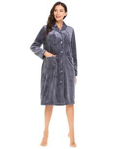 8af2cb2d349 Robe Womens Button-Down Bath Robes Fleece Plush Long Sleeve Sleepwear -  Gray - CL186KCC6M8