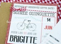 Invitation personnalisable anniversaire retraite th me - Deco mariage guinguette ...