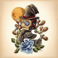 An amazing tattoo flash of a plague doctor in steampunk style. Style: Steampunk. Tags: Best, Amazing, Great