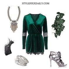 OUTFIT OF THE DAY: VELVET LACE PLAYSUIT, METALLIC HEELS & EMBELLISHED NECKLACE