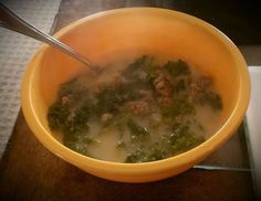 "Calli from LCHF FB group posted this and let me post the pic! ""I made a big pot... Brown sausage of choice in large soup pot. Add about 10-12 cups of chicken broth, onion (i used green), 3 diced cloves of garlic, salt and pepper. Boil until onions are almost tender. Add kale and heavy cream..""  YUM! Homemade zuppa toscana (minus potatoes)!"