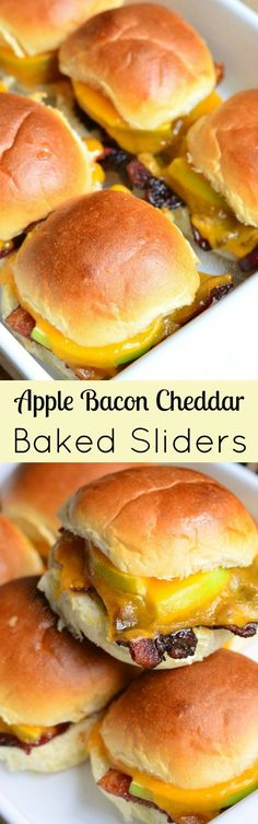 Apple Bacon Cheddar Baked Sliders - little baked sliders are easy to make & pack a delicious flavor combination of brown sugar, crispy bacon, apples, and cheddar inside. Bacon Recipes, Appetizer Recipes, Cooking Recipes, Dinner Recipes, Bacon Appetizers, Party Appetizers, Burger Recipes, Apple Recipes, Lunch Recipes