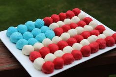 Cake Ball Flag Cake Let me show you how I did it! First grab some Betty Crocker® SuperMoist® white cake mix, Betty Crocker® Whipped frosting and colored candy melts (found at your local craft store).