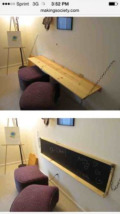 Desk turns into a blackboard. Perfect for a flex space: http://makingsociety.com/2013/02/20-open-source-furniture-designs/