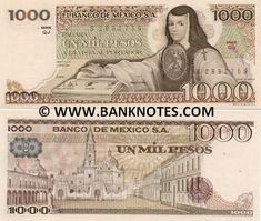 Mexico 1000 Pesos 1981  Front: Scholar, poet, nun and writer Juana de Asbaje (Sor Juana Inés de la Cruz de Asbaje y Ramírez de Santillana) touching a book; Back: Plaza de Santo Domingo in Mexico City; Watermark: Portrait of Sor Juana de Asbaje.