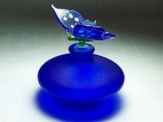 Vintage Blue Satin Glass Perfume Bottle With Butterfly Stopper   eBay