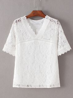 1301d215508 Shop White V Neck Crochet Lace Blouse online. SheIn offers White V Neck  Crochet Lace