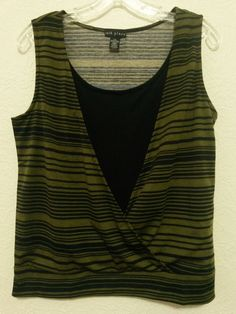 14th Place - Women's Stretch Top Size M 8-10 Blouse Black & Green Shirt - Sleeveless  #14thPlace #PulloverBlouse #Casual ..... Visit all of our online locations ..... (www.stores.eBay.com/variety-on-a-budget) ..... (www.amazon.com/shops/Variety-on-a-Budget) ..... (www.etsy.com/shop/VarietyonaBudget) ..... (www.bonanza.com/booths/VarietyonaBudget ) .....(www.facebook.com/VarietyonaBudgetOnlineShopping)