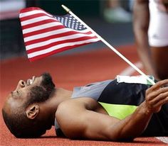 Georgia Tech Track & Field alum Angelo Taylor reacts after finishing the men's 400 meter hurdles and making the Olympic team at the U.S. Olympic Track and Field Trials Sunday, July 1, 2012, in Eugene, Ore.