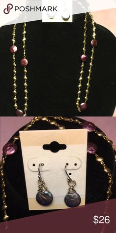 Gold necklace of flat pearls and earring set Long chain of small gold beads and intermittent purple/red flat pearls.  Matching earrings. Jewelry Necklaces