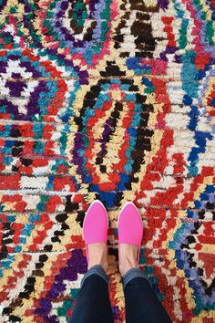 KHAO SAN ROAD 8'2 x 4'7 Boucherouite Rug. Tapis by pinkrugco